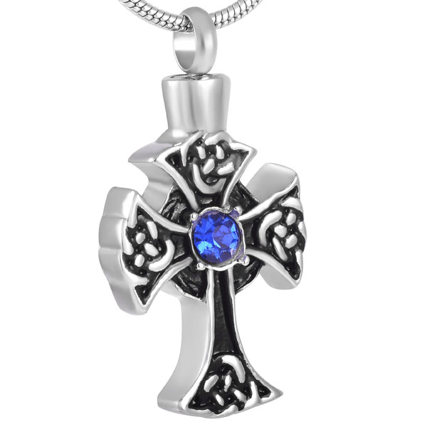 memorial cremation jewellery saphire cross