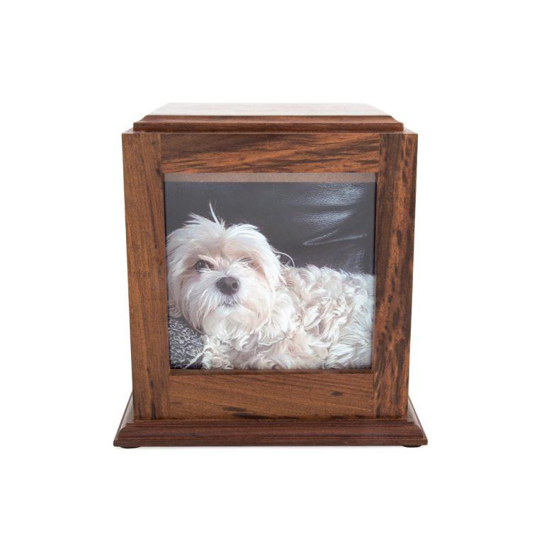 wood photo urn